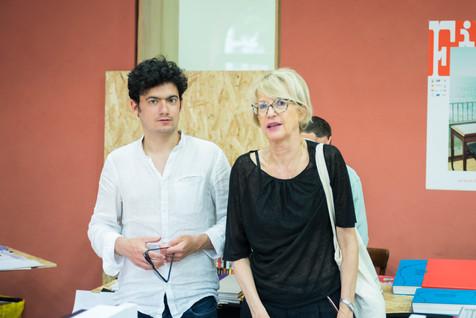 Clément Cogitore, réalisateur, avec Colette Barbier, directrice de la Fondation Ricard pour l'art contemporain. Membres du Jury des Films du FILAF 2018.