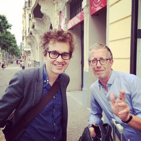 Laurent Brancowitz, membre du groupe Phoenix et du Jury du FILAF 2014 (à gauche), aux côtés du photographe Arnaud Pyvka