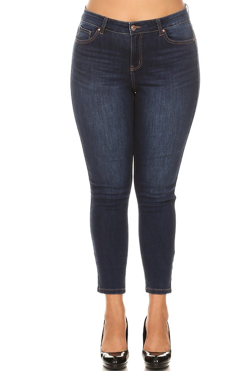 High Rise Distressed Jeans-Plus Size