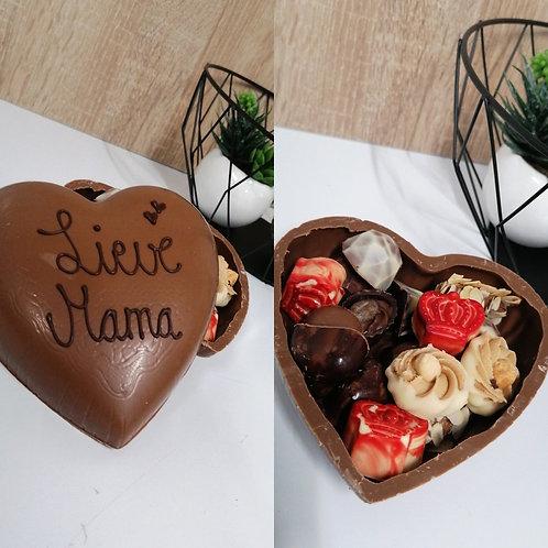 Chocolade hartjesdoos gevuld