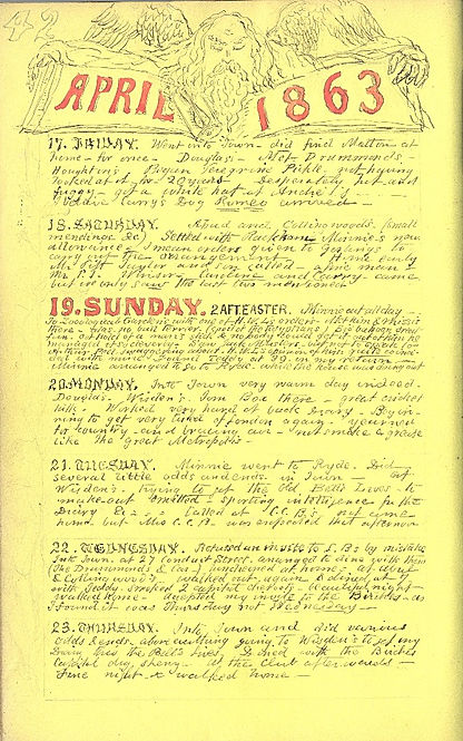 April 1863 diary from 17th onwards