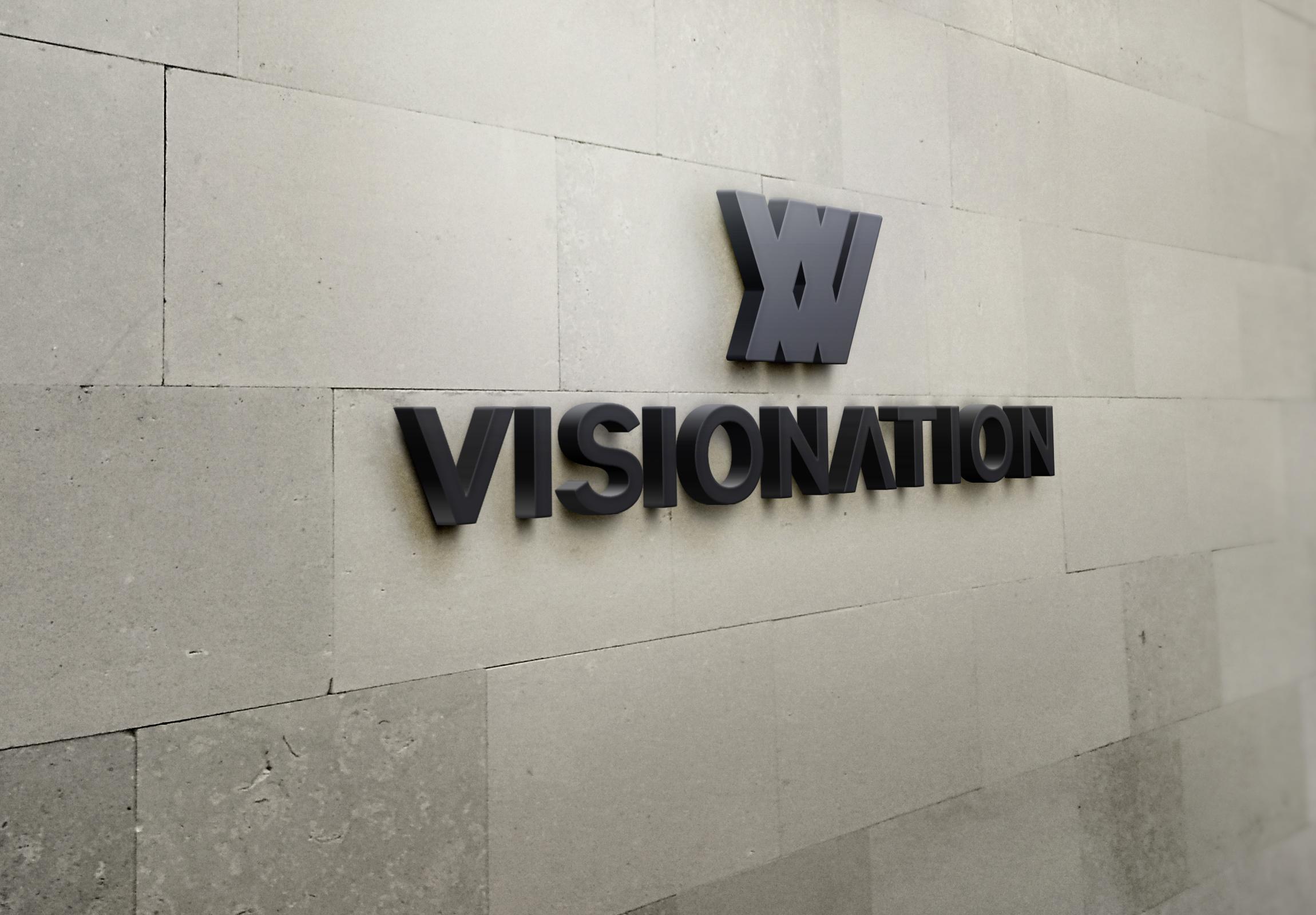 Visionation 3D Wall Logo MockUp