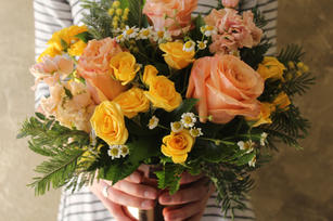 Peach and Yellow Happy Centerpiece