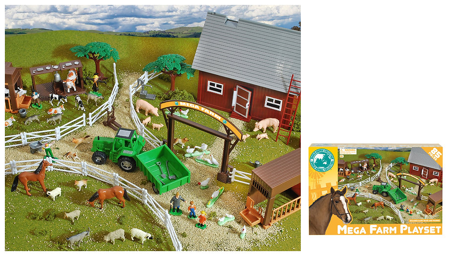 "85 Pcs Mega Farm Playset Close Box 20.5""(L) x 3.25""(W) x 14.13""(H)"