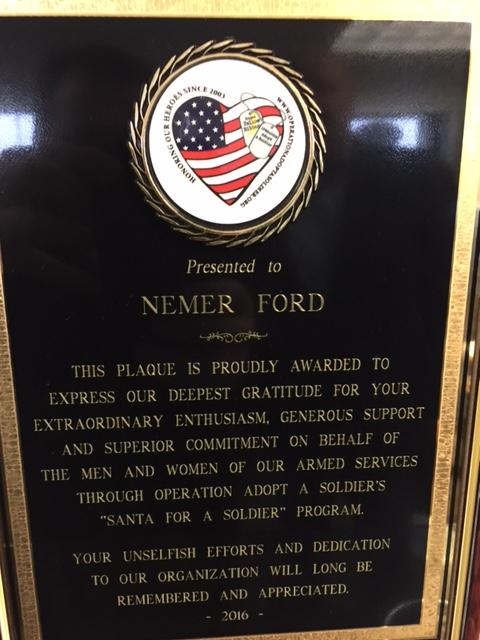 Nemer Ford Plaque