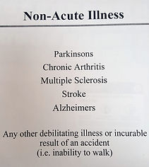 non-acute illnesses for long term care insurance