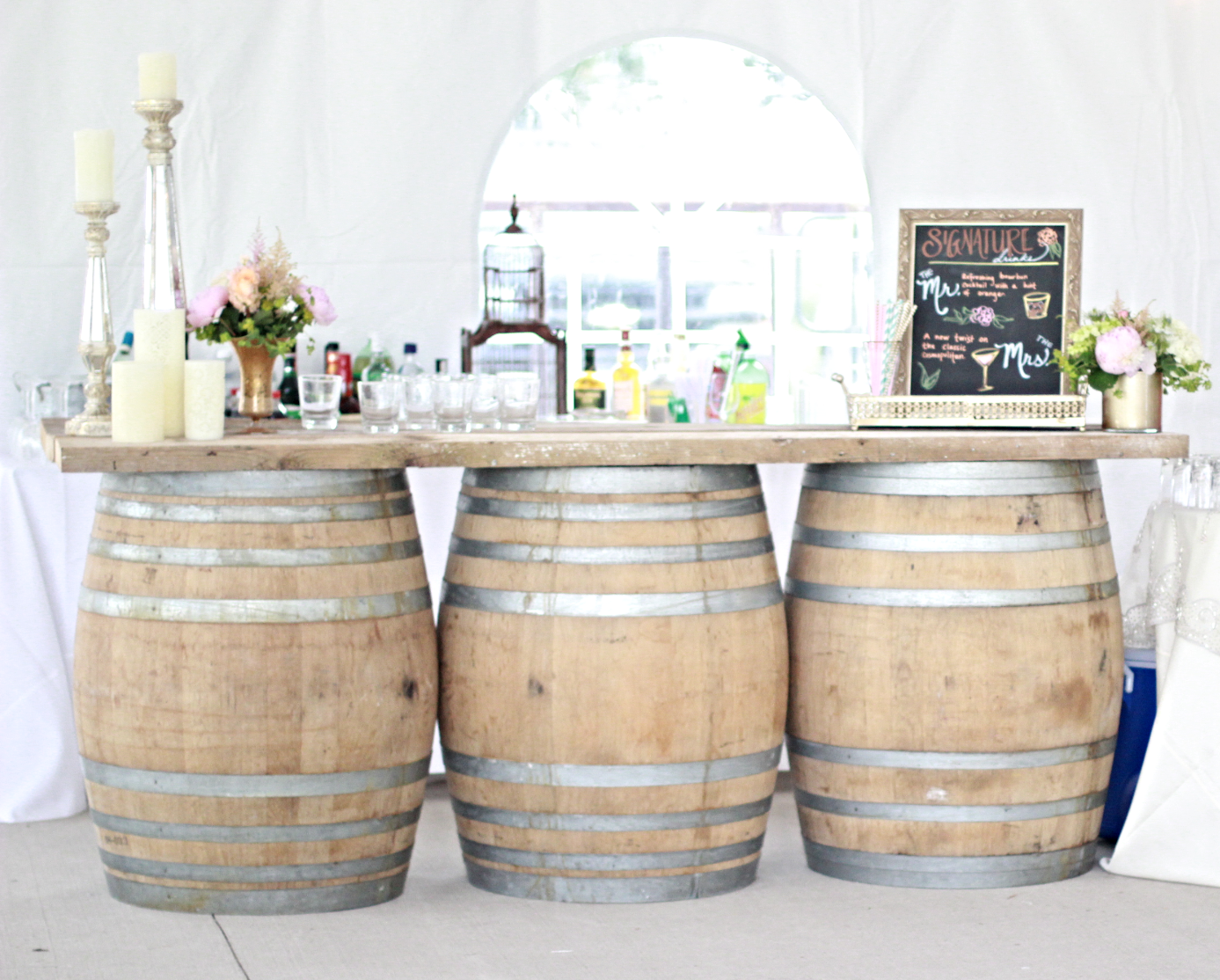 large wine barrel bar