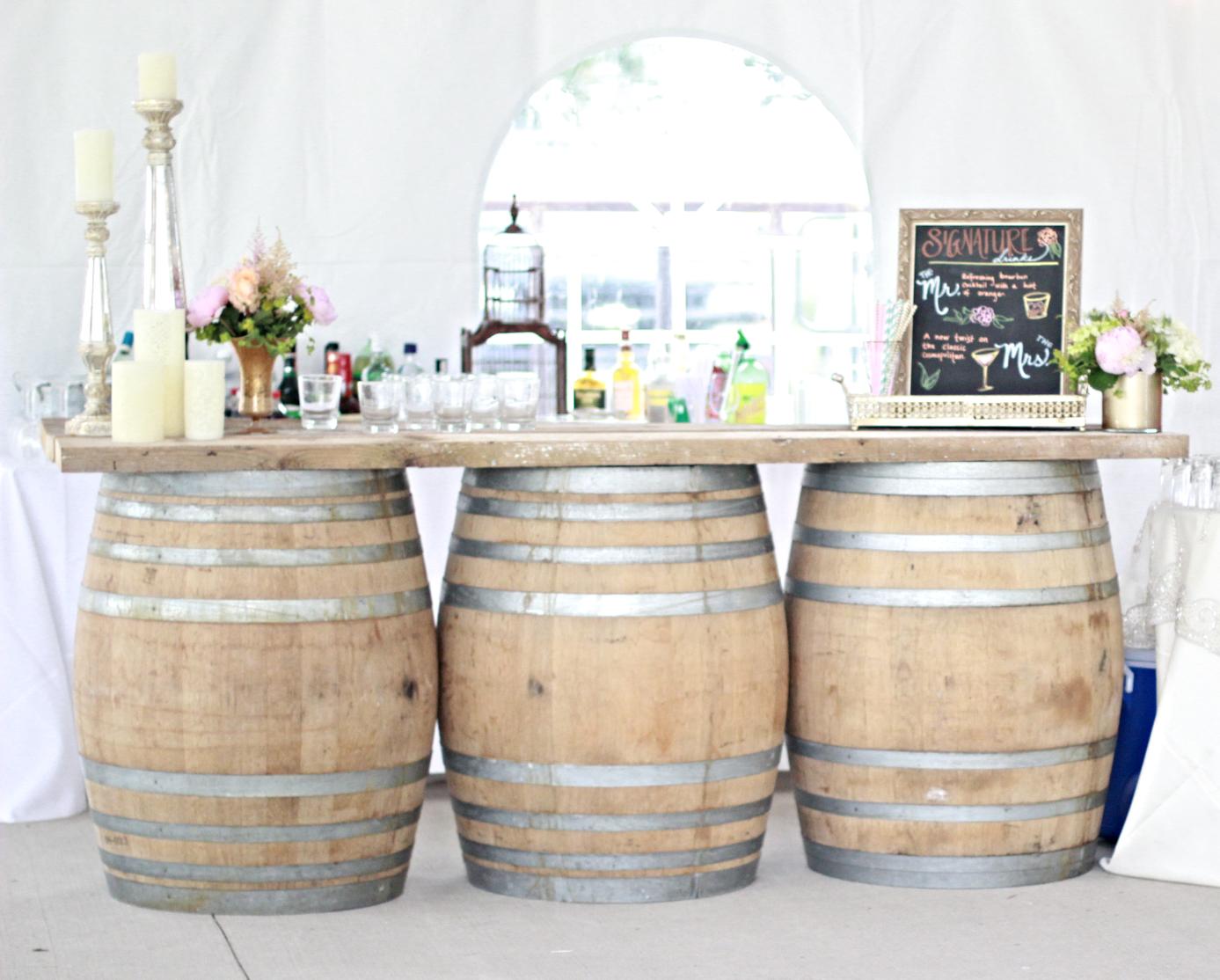 large wine barrel bar