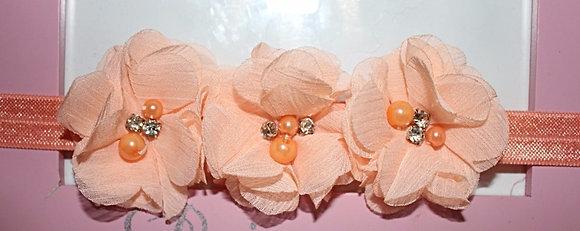 Peach Pearl and Rhinestone Flower Crown