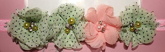 Pink & Mint Green Polka Dot Flower Crown