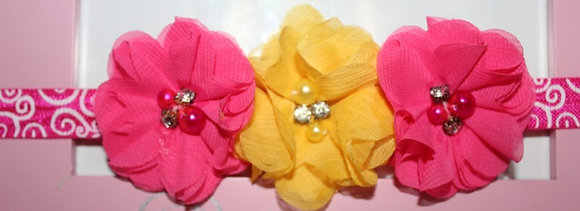 Yellow and Hot Pink Flower Crown