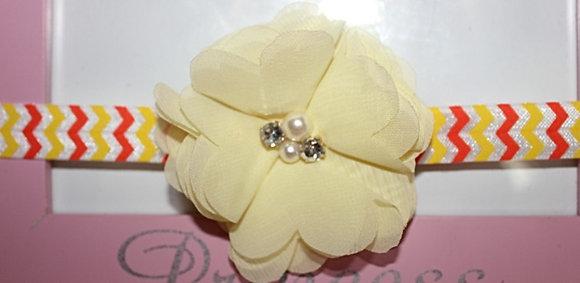 Yellow Pearl and Rhinestone Chiffon Headband