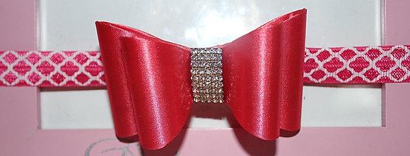 Pink Bow Rhinestone Headband; Double Bow