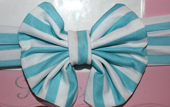 Stripe Light Blue & White Big Bow Headband