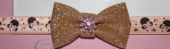 Metallic Glitter Gold Bow Headband