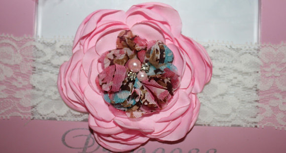 Satin Light Pink & Floral Headband; Lace