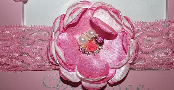 Satin Lace Pink Headband