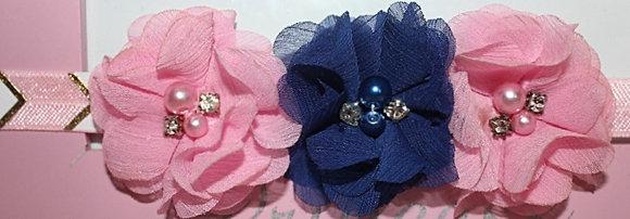 Pink & Blue Pearl and Rhinestone Chiffon Flower Crown