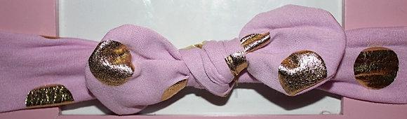 Pink & Gold Polka Dot Headband