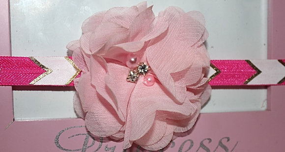Pink Pearl & Rhineston Chiffon Headband
