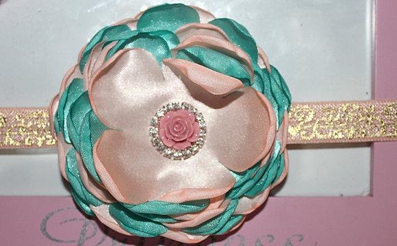 Satin Blush Pink & Turquoise Headband