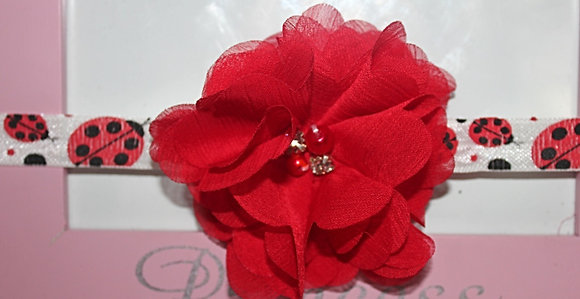 Red Pearl and Rhinestone Flower Headband