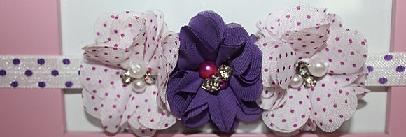 Purple Solid & Polka Dot Flower Crown