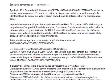 Réparer erreur démarrage VM dans Hyper-V (chaine endommagée)