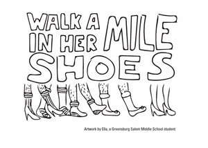 Artwork for the 2016 Blackburn Center Walk A Mile In Her Shoes event.