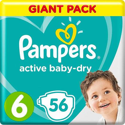 Подгузники Pampers Active Baby-Dry 6 (13-18 кг) 56 шт