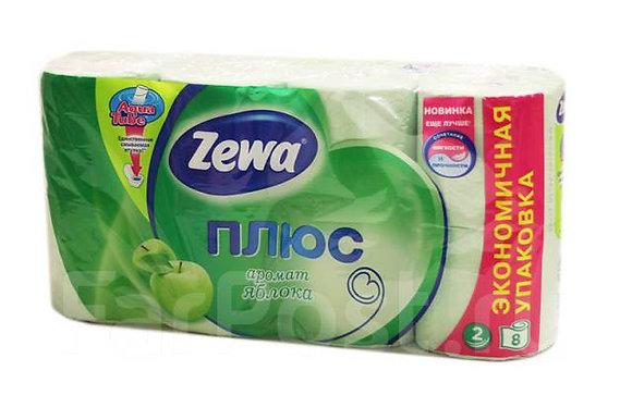 туалетная бумага zewa 2 слоя, 8 рулонов