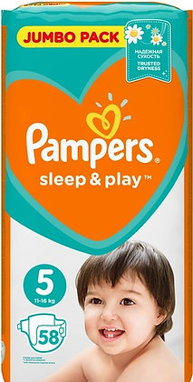 Подгузники Pampers Sleep & Play Размер 5 (Junior) 11-16 кг, 58 шт