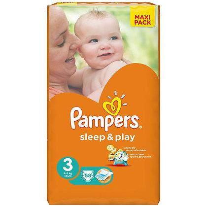 Подгузники Pampers Sleep & play, 3, 58 шт