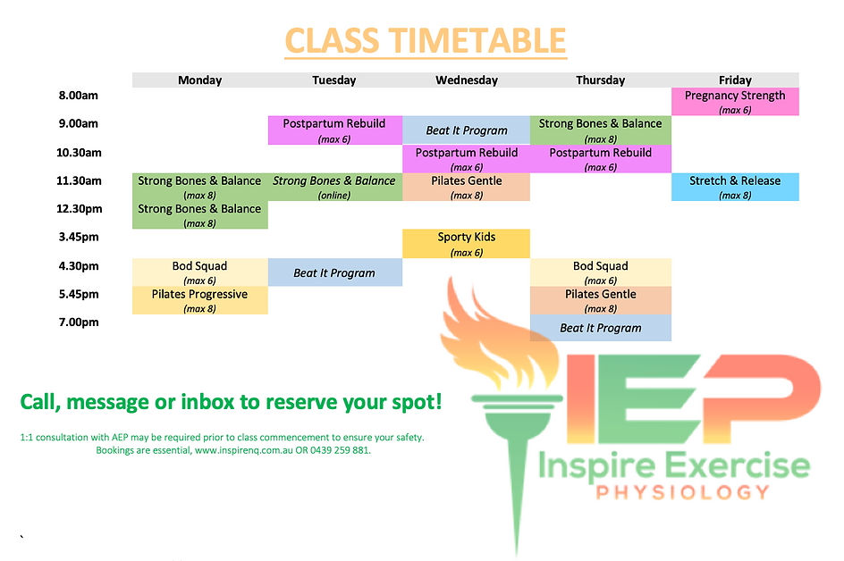 IEP Group Class Timetable