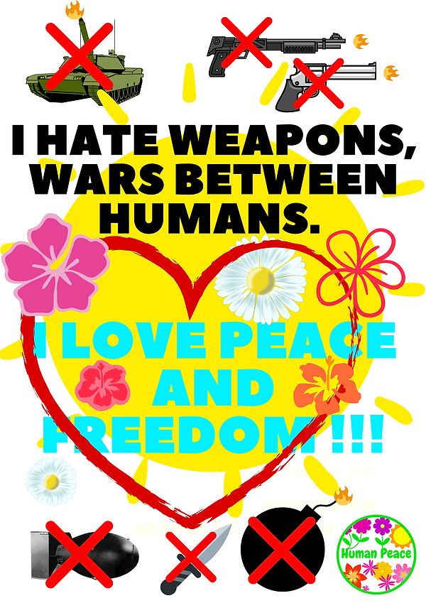 I hate weapons, wars between humans. I l