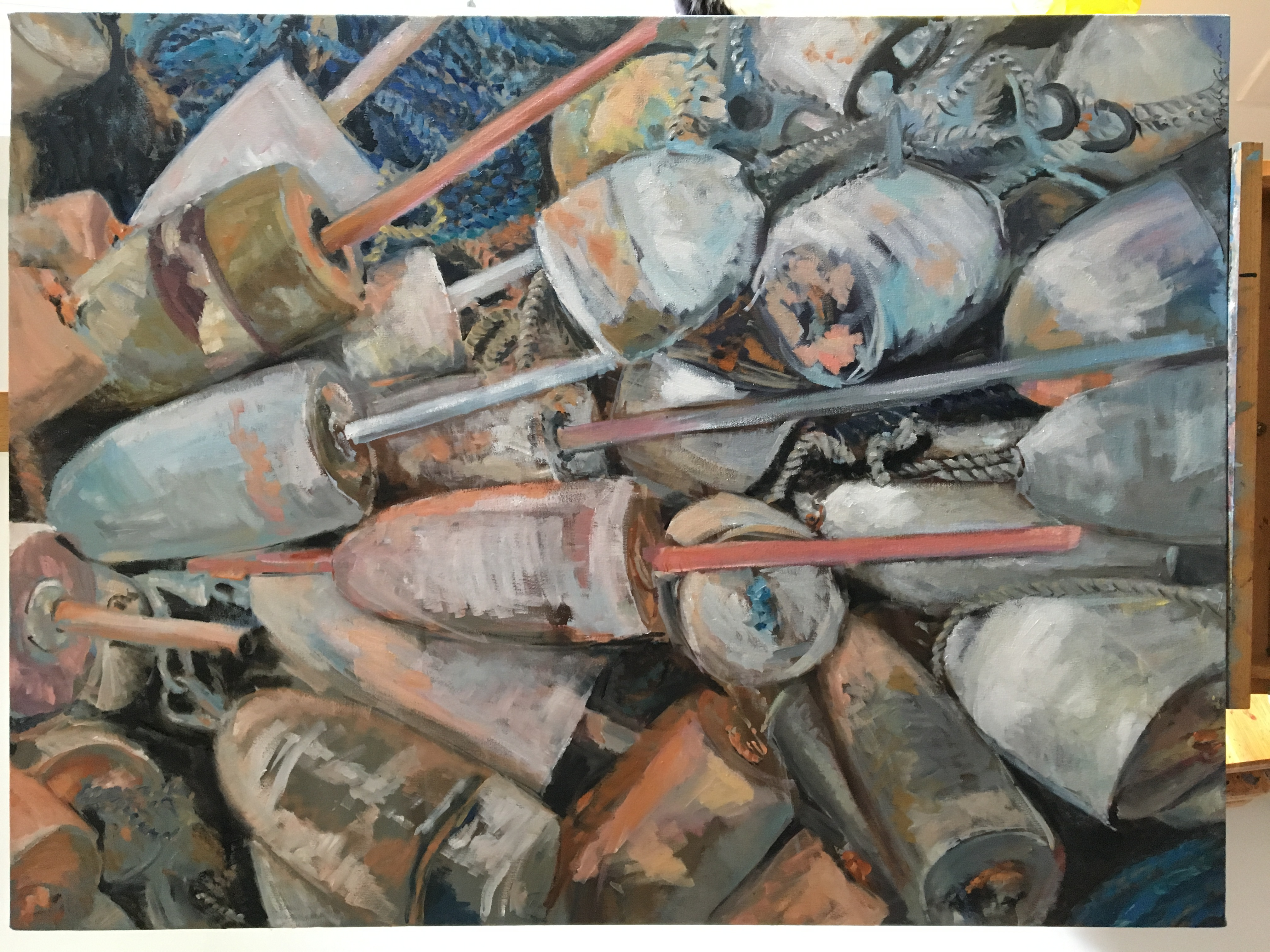 Buoy Pile with Ropes, oil on canvas, 40x30, $800