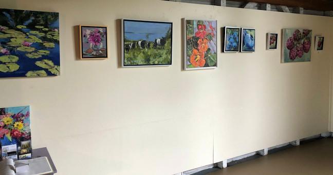 Waterlillies, Florals, Cows, Blueberries, Raspberries, all oil on canvas, POR