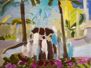 """Meeting at the Fountain, 18"""" x 24"""", $295"""
