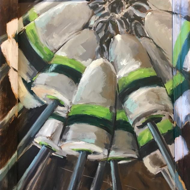 """Joe's Buoys, oil on canvas, 20""""x16"""" w painted frame, $325"""