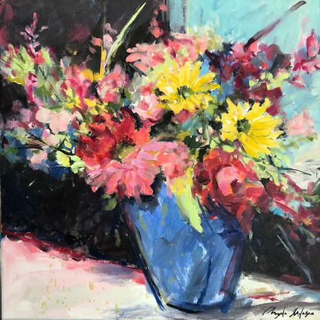 Blue Vase, oil on canvas 14 x 24, POR