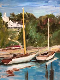 Rockport Harbor, ME, oil on canvas, 24x18, $400