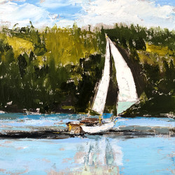 Sailing by Hupper's Island, oil on canva