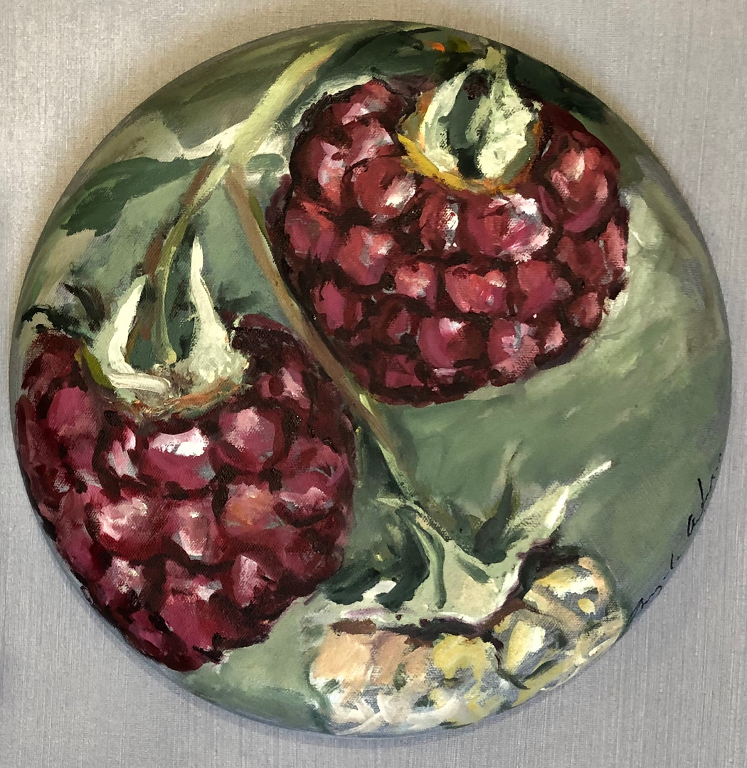 Raspberries on a vine, 12 _ diameter, $2