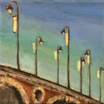 """Bridge and Lamps, 6"""" x 6"""", Private Collection, Maine"""