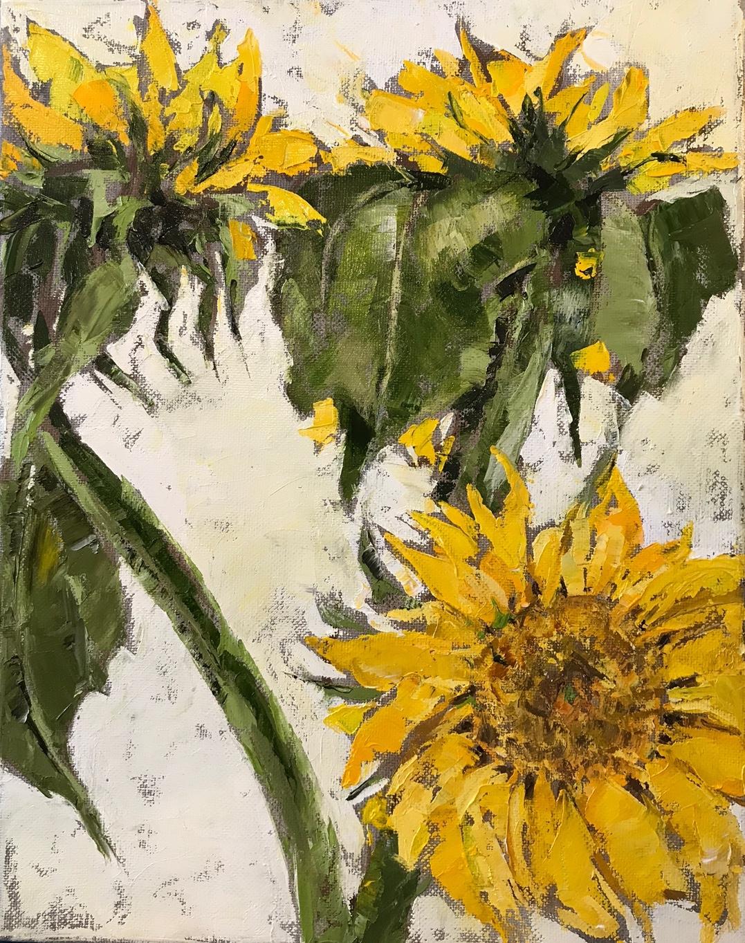 Sunflowers, oil on canvas, 16x12, $300