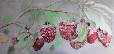 Raspberry Vines and Leaves, 24x48, $595