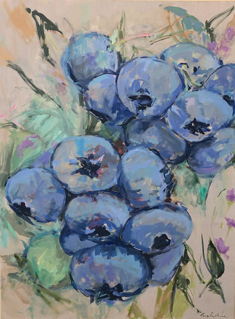 Blueberries, oil on canvas, 48 x 36, SOLD