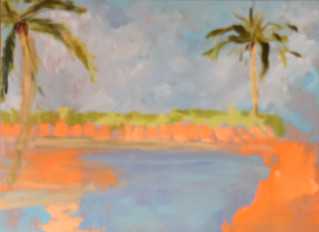 """Poolside, 18"""" x 24"""", oil on canvas, $375"""