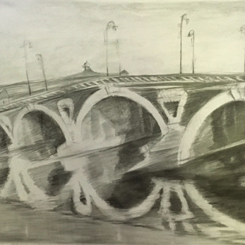 """Le Pont Neuf, Graphite on Paper, 36"""" X 70"""""""