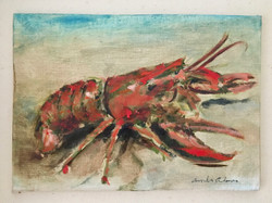 Vintage Lobster, 5x7, Private Collection, Huppers Island, Maine